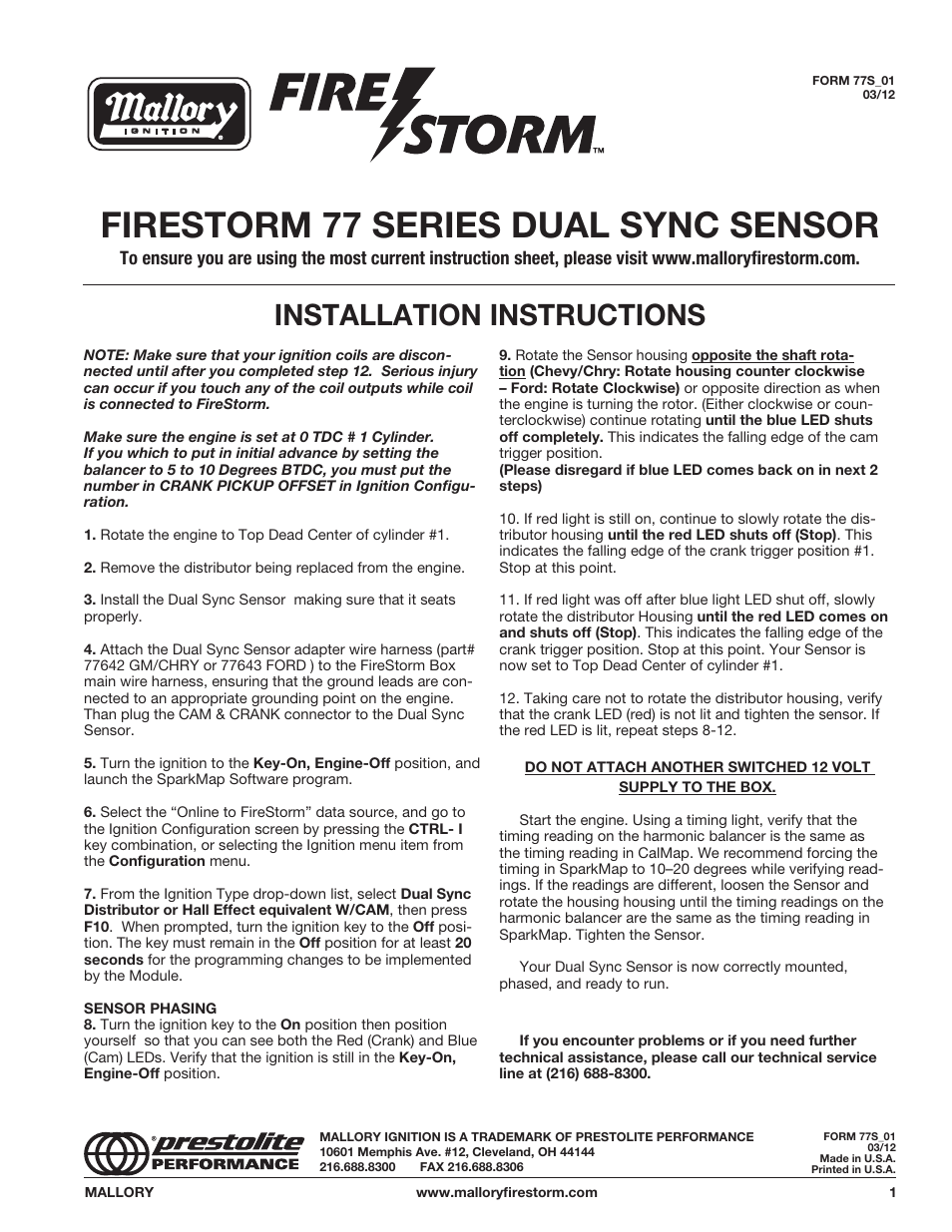hight resolution of mallory ignition mallory firestorm 77 series dual sync sensor usermallory ignition mallory firestorm 77 series dual