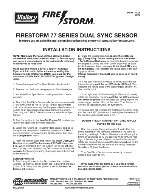 small resolution of mallory ignition mallory firestorm 77 series dual sync sensor usermallory ignition mallory firestorm 77 series dual