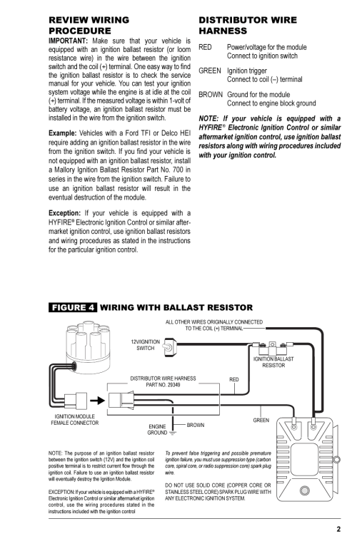 small resolution of review wiring procedure distributor wire harness coil mallory ignition mallory magnetic breakerless ignition module 609 user manual page 3 4