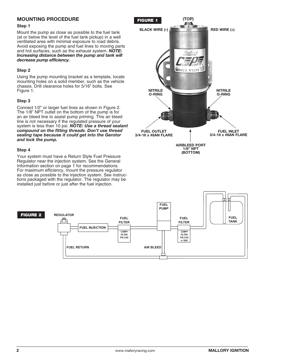 medium resolution of mallory fuel pump wiring diagram wiring diagrammounting procedure mallory ignition mallory comp pump series 110fimounting procedure