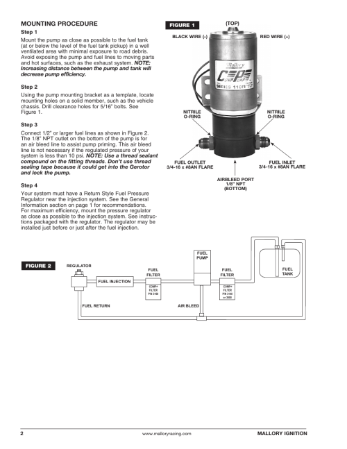 small resolution of mallory fuel pump wiring diagram wiring diagrammounting procedure mallory ignition mallory comp pump series 110fimounting procedure
