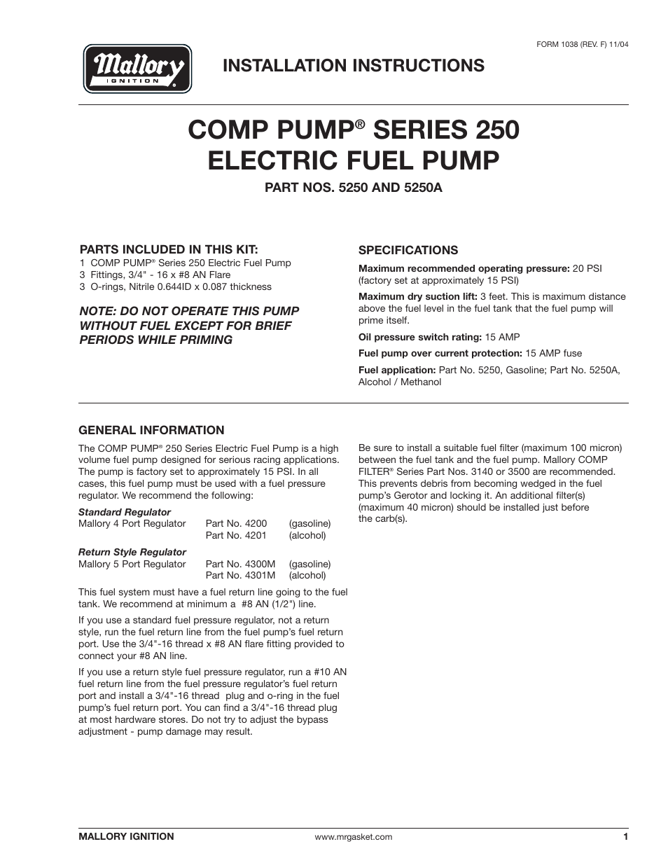 medium resolution of mallory ignition mallory comp pump series 250 electric fuel pump 5250 5250a user manual 4 pages