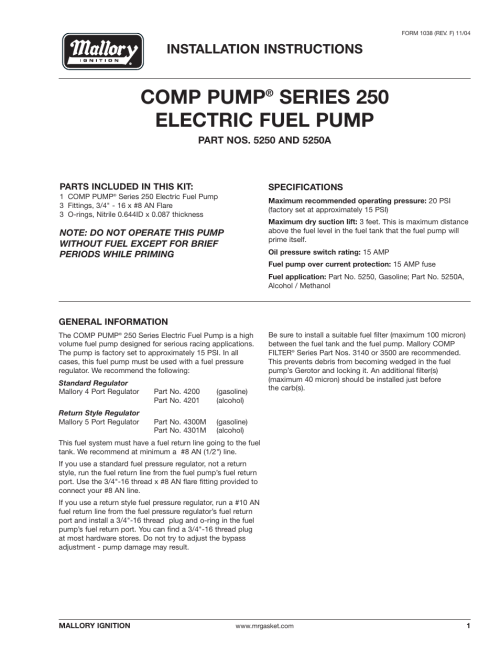 small resolution of mallory ignition mallory comp pump series 250 electric fuel pump 5250 5250a user manual 4 pages
