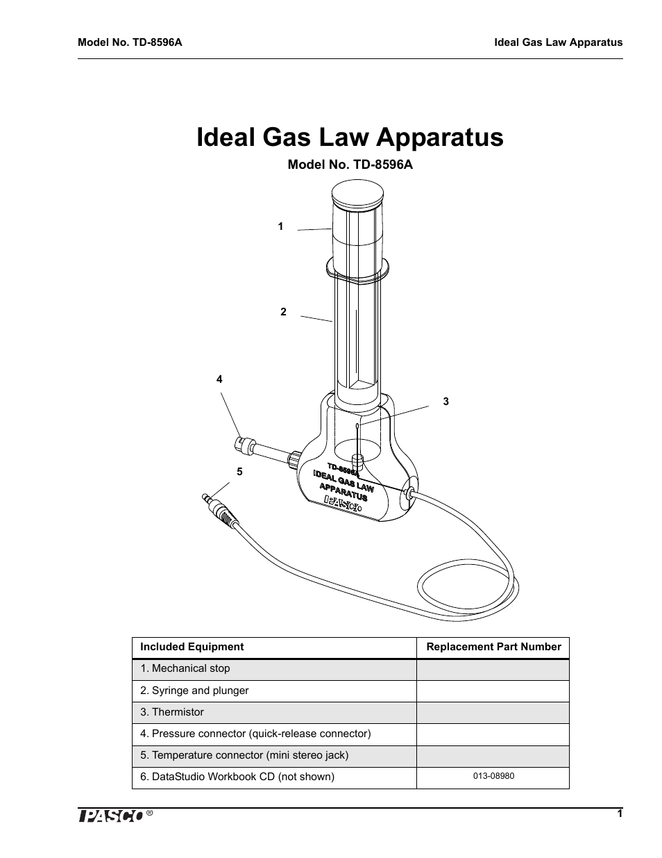 hight resolution of ideal gas law apparatus pasco td 8596a ideal gas law apparatus user manual page 3 12