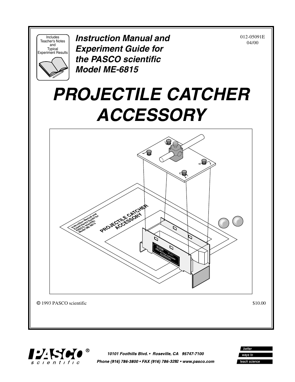 PASCO ME-6815 PROJECTILE CATCHER ACCESSORY User Manual