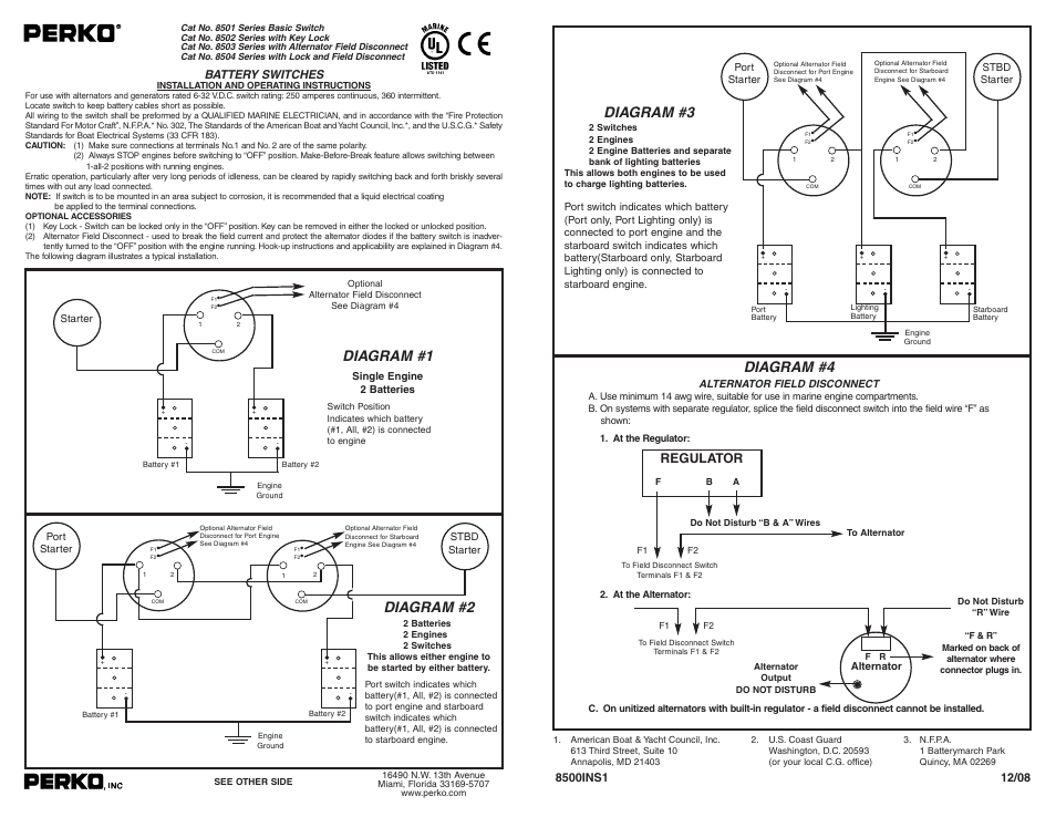 boat battery disconnect switch wiring diagram 1963 impala tachometer perko 8502 user manual | 1 page also for: 8503, 8504, 8501
