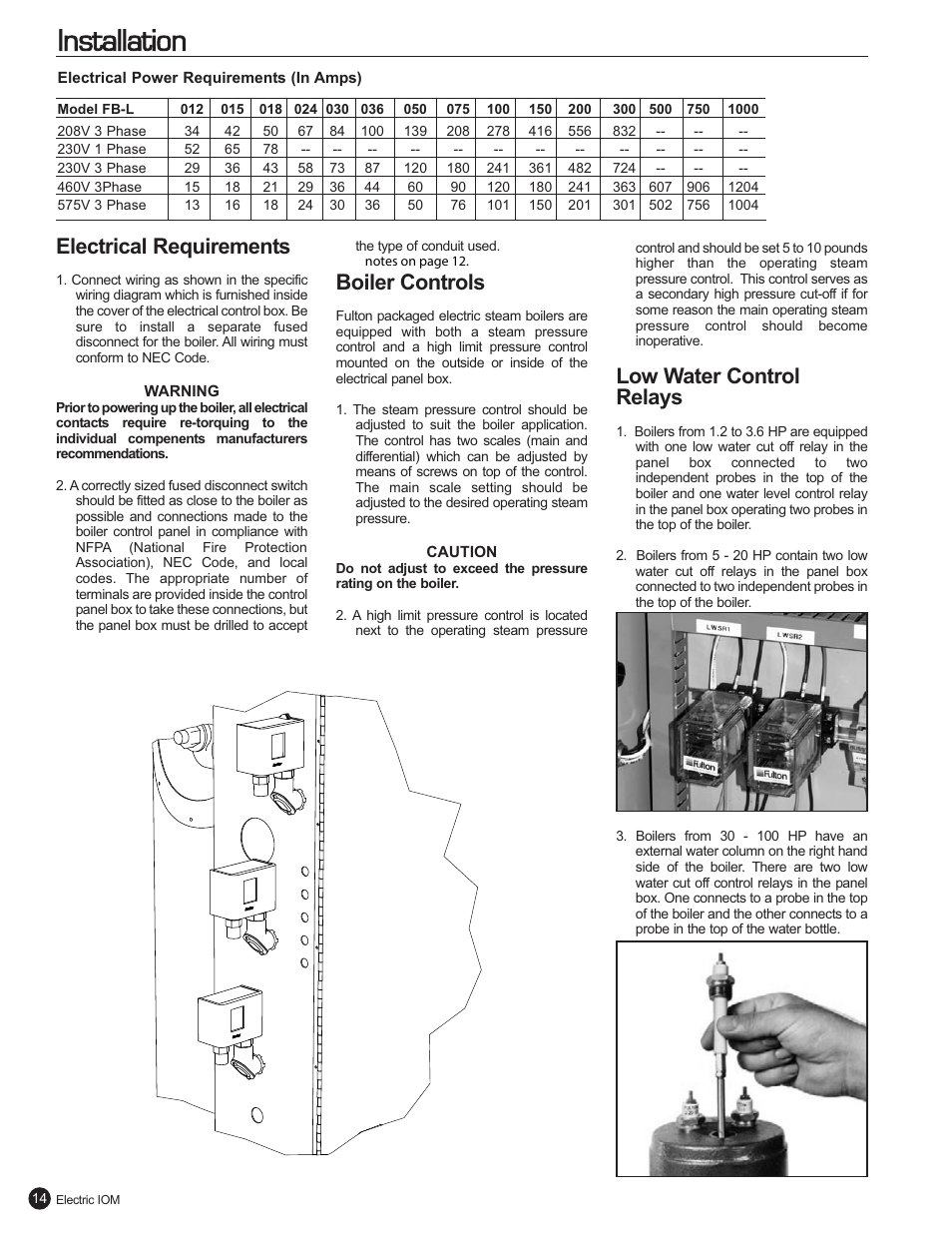 medium resolution of installation electrical requirements boiler controls fulton electric fb l steam boiler user manual page 18 46