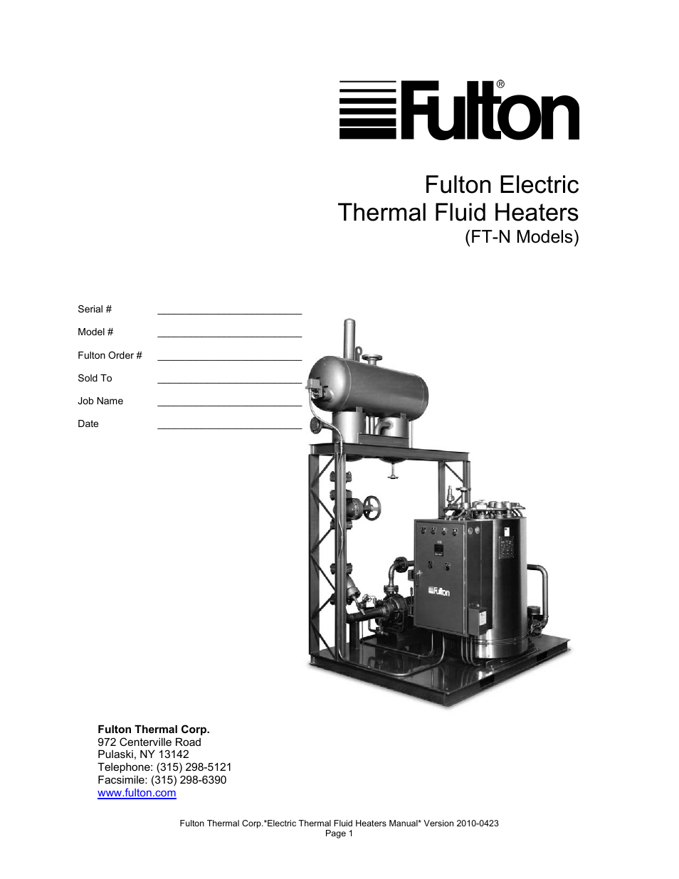 Fulton Vertical Electric (FT-N) Thermal Fluid (hot oil