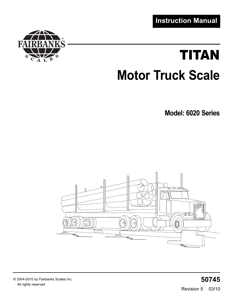 Fairbanks 6020 Series Titan Motor Truck Scale User Manual