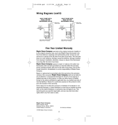 five year limited warranty wiring diagrams cont d maple chase company [ 954 x 1235 Pixel ]