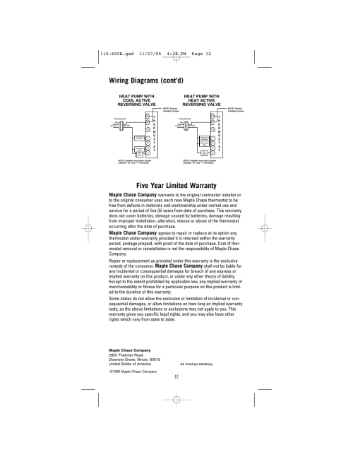small resolution of five year limited warranty wiring diagrams cont d maple chase company
