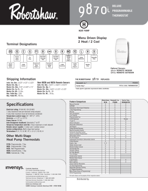Specifications, Other multistage heat pump thermostats