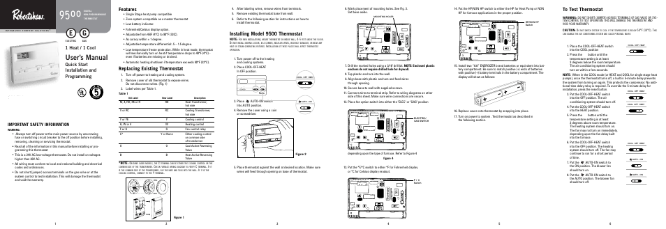 User's manual, Features, Replacing existing thermostat
