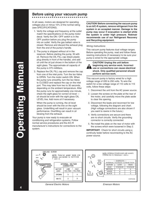 small resolution of operating manual before using your vacuum pump robinair modeloperating manual before using your vacuum