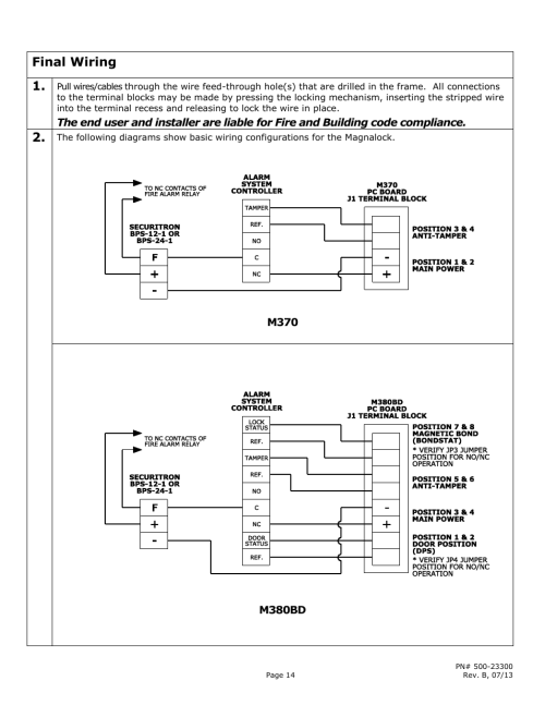 small resolution of final wiring securitron m380bd user manual page 14 16