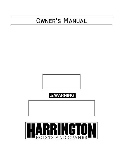 small resolution of harrington hoists and cranes n er hoist n er1 user manual 72 pages