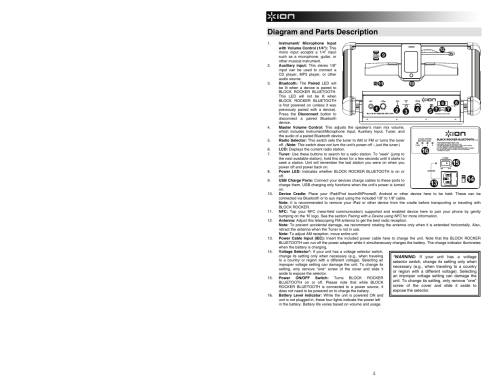 small resolution of diagram and parts description ion audio block rocker bluetooth ipa56c user manual page 4