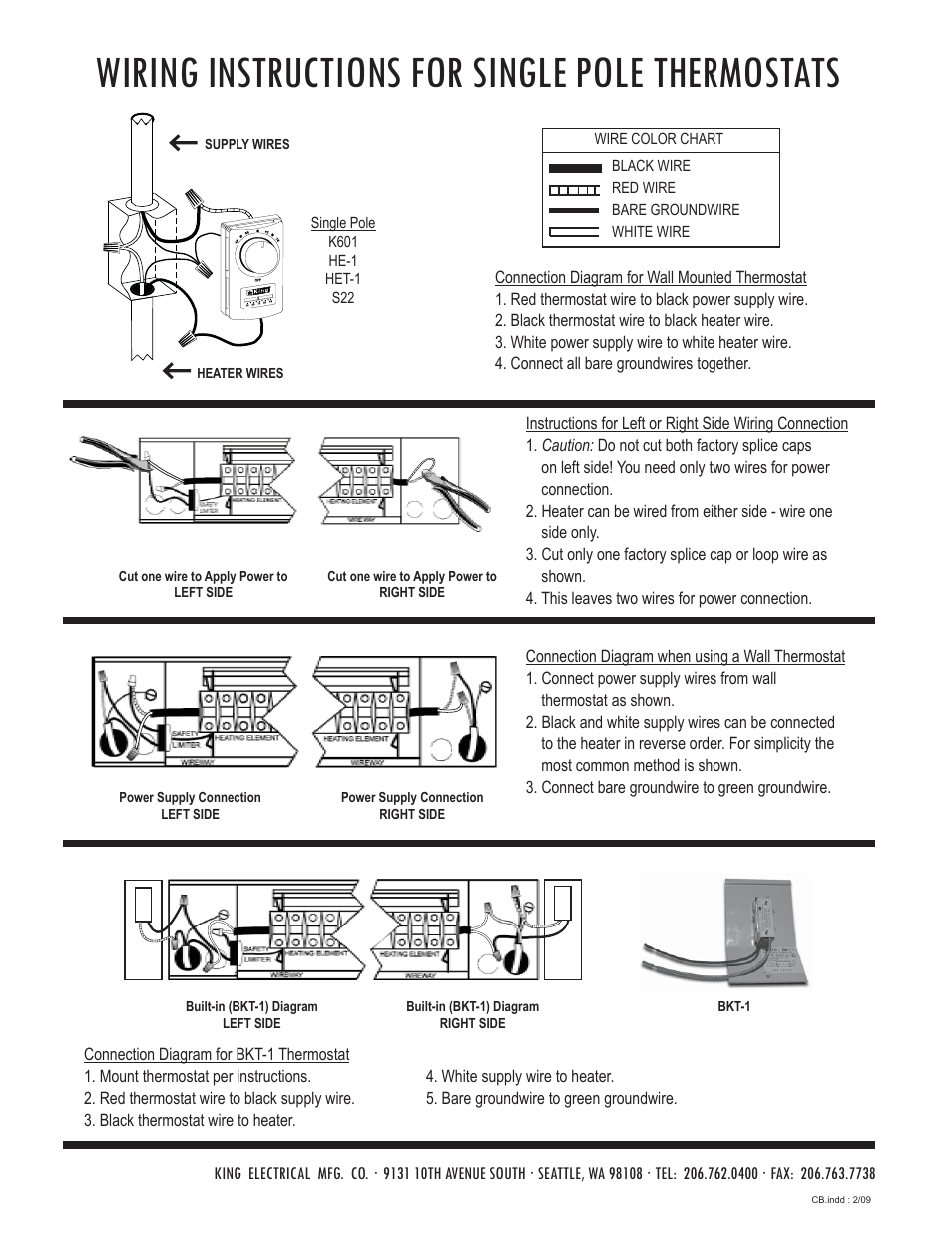medium resolution of wiring instructions for single pole thermostats king electric model cb user manual page 2 4