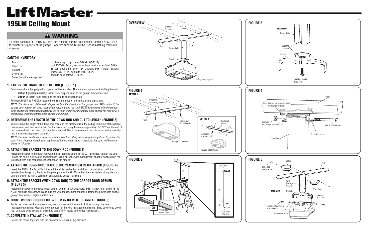 Liftmaster 195lm Ceiling Mount User Manual