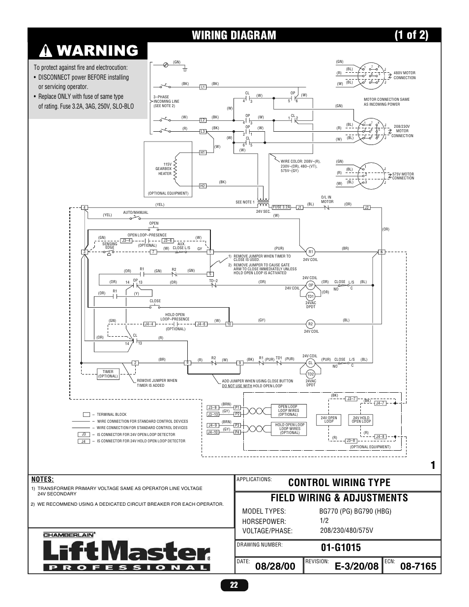 hight resolution of wiring diagram 1 of 2 liftmaster bg770 industrial duty singlewiring diagram 1 of