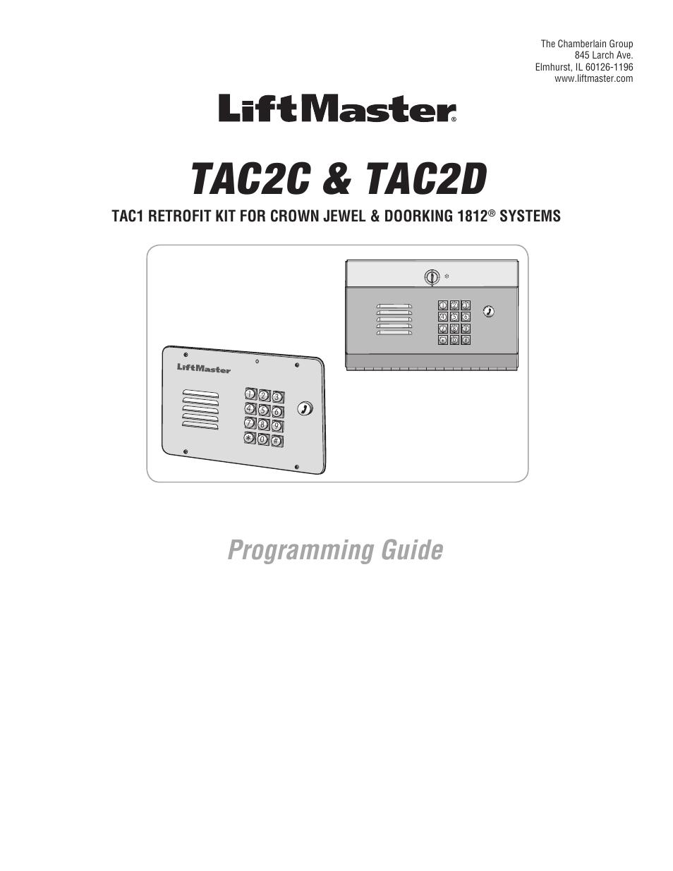 LiftMaster TAC2D TAC Retrofit System for *1812 User Manual
