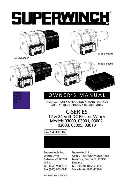 small resolution of c series superwinch c1000 motor cover remote 453 kgs 12v user manual page 2 60