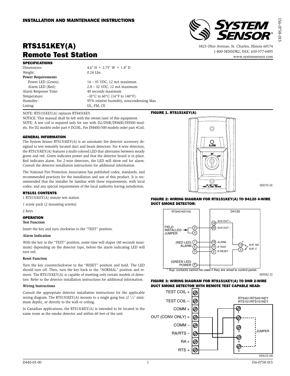 System Sensor RTS151KEY А User Manual 2 Pages Also For RTS151KEY