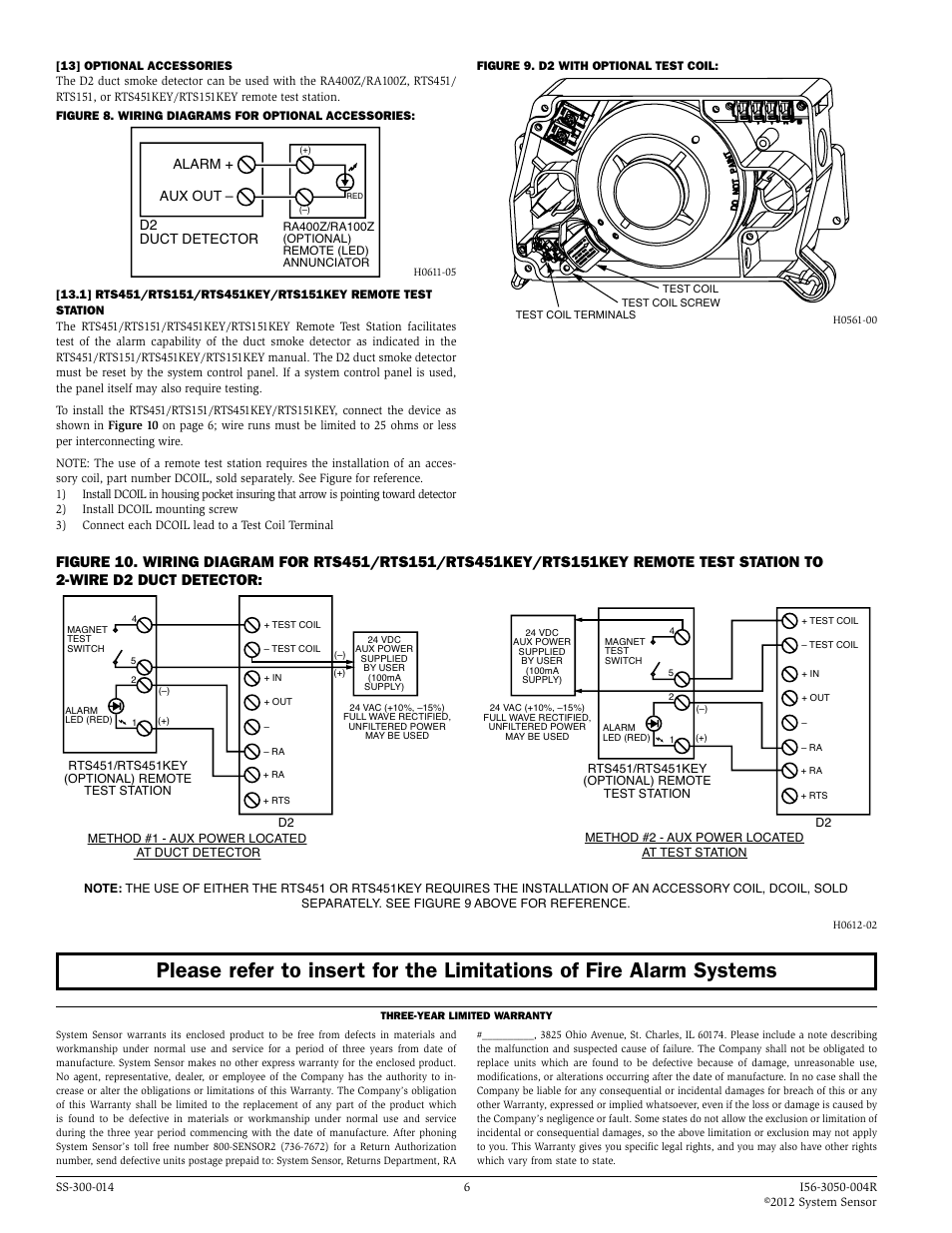 system sensor smoke detector wiring diagram 94 honda civic alarm aux out d2 duct user manual page 6