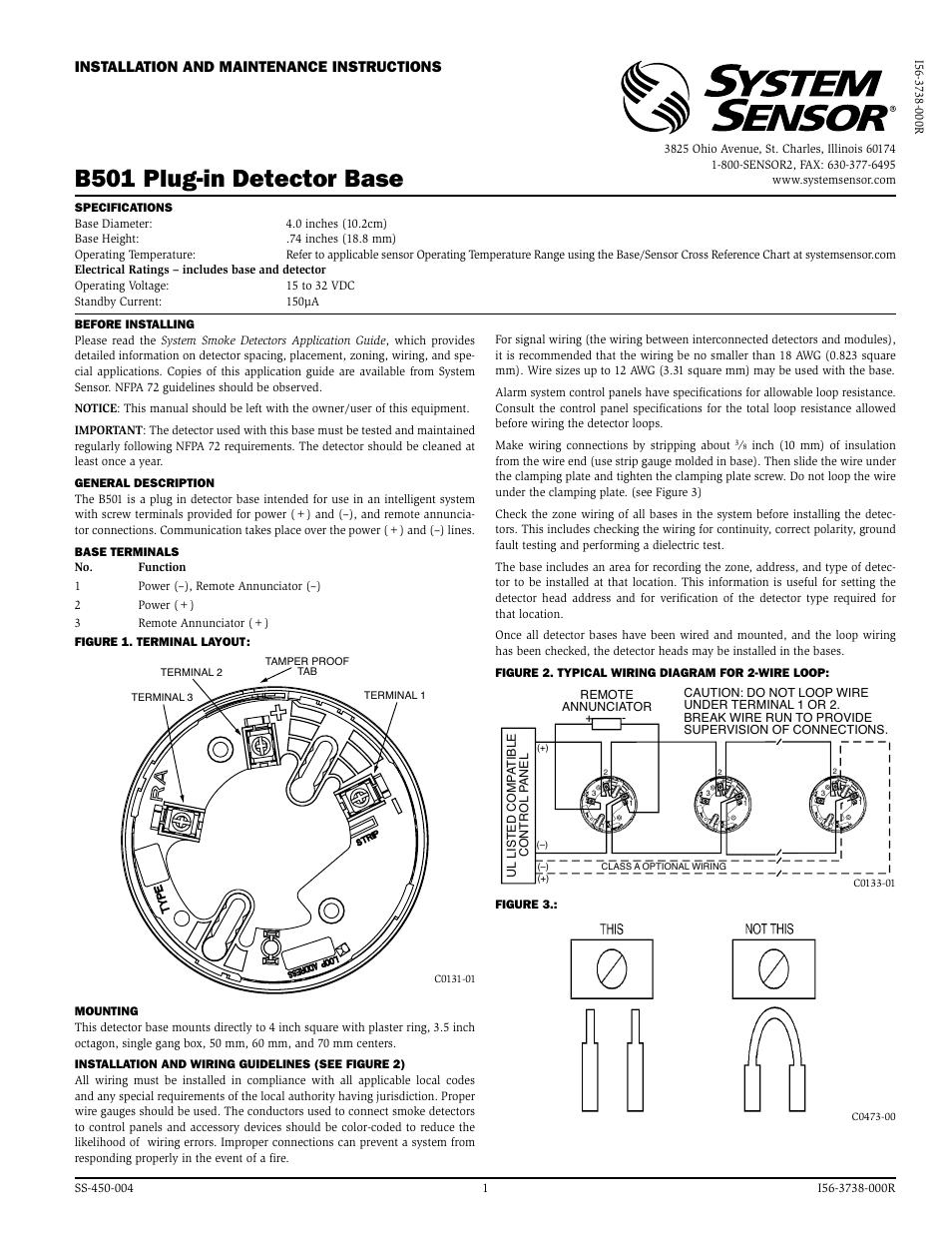 system sensor smoke detector wiring diagram honeywell notifier nfs 320 b501 user manual 2 pages