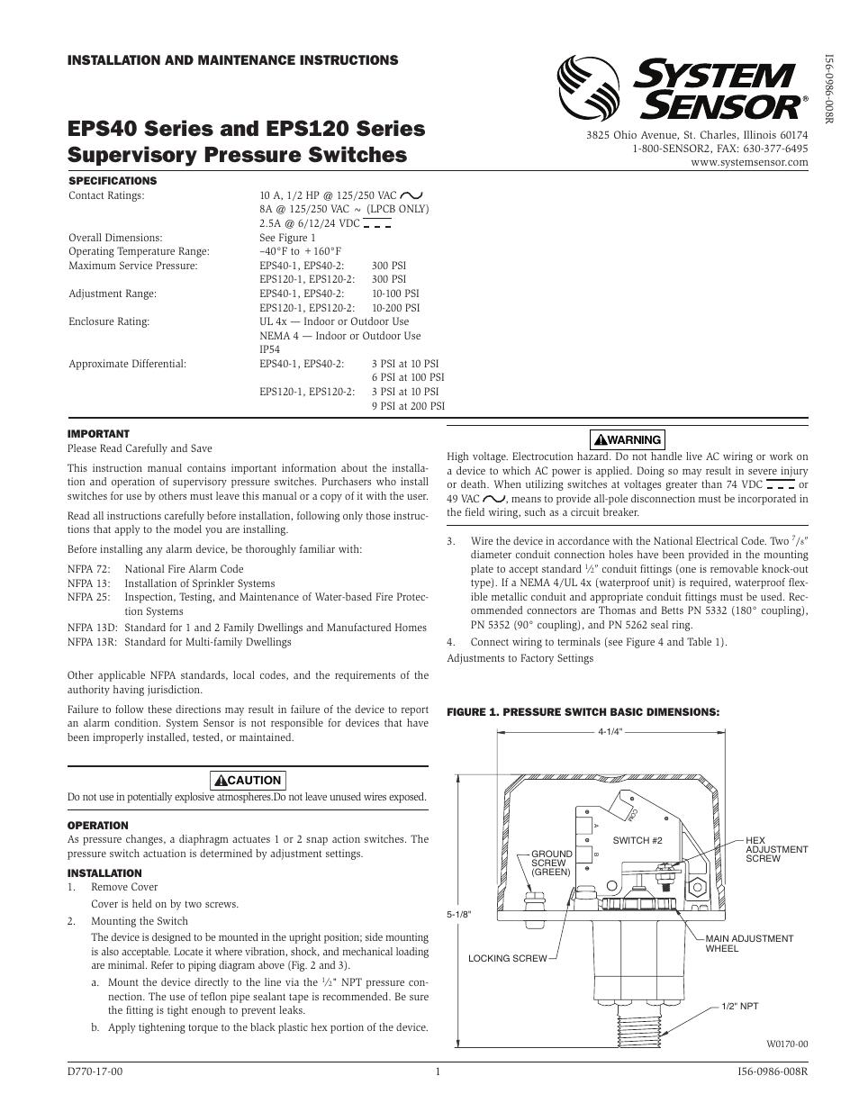 System Sensor EPS40, EPS40-2, EPS120-1, and EPS120-2 User