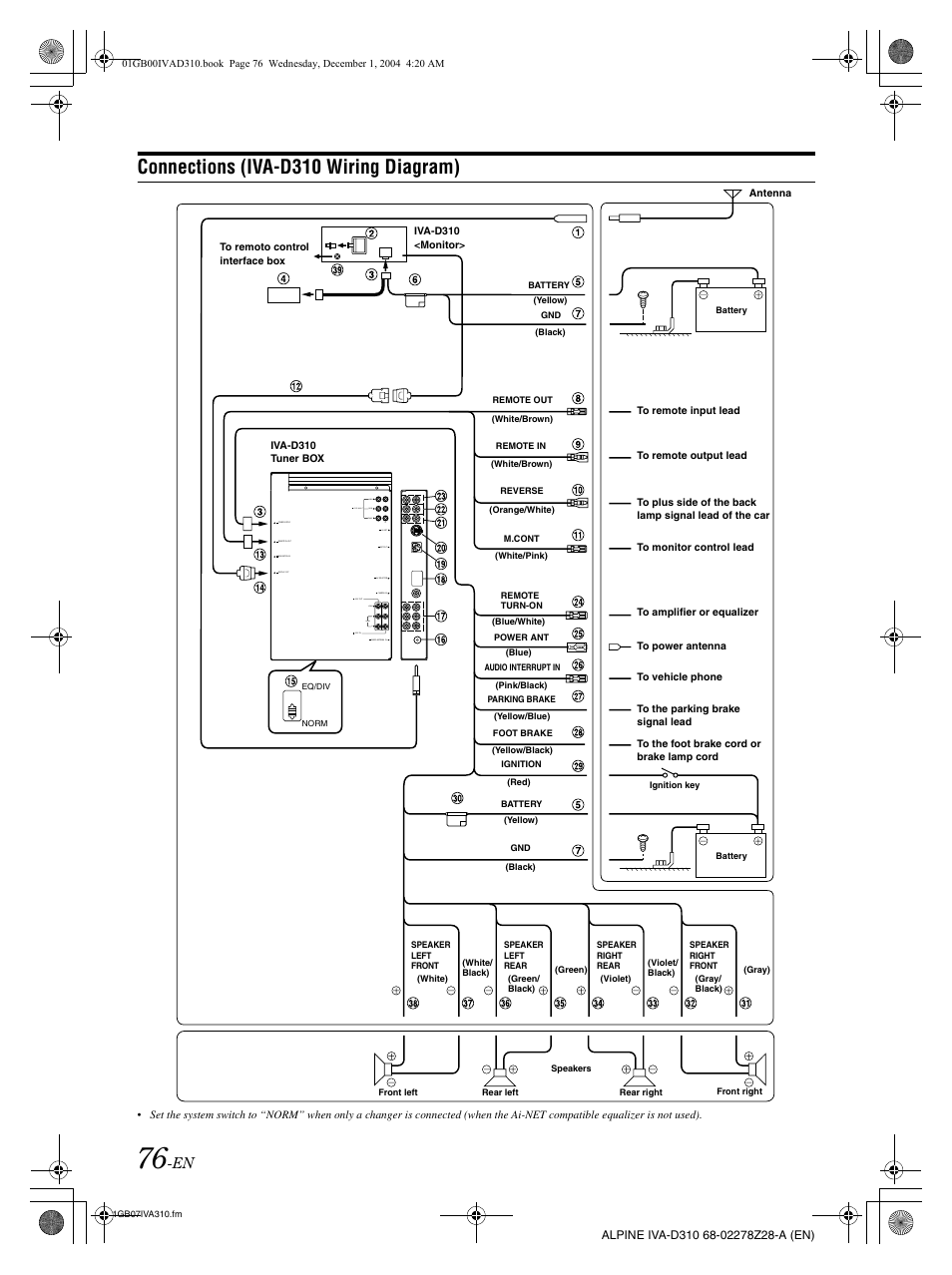 alpine iva d310 page78 alpine iva d310 wiring diagram alpine iva-w205 wiring harness at crackthecode.co