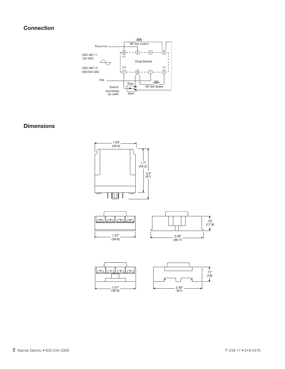 hight resolution of connection dimensions warner electric cbc 801 user manual page 2 4