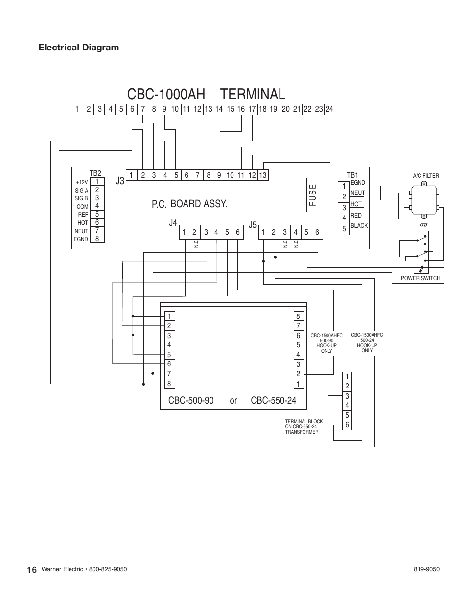 hight resolution of cbc 1000ah terminal p c board assy electrical diagram warner electric cbc 1550ahfc user manual page 16 22