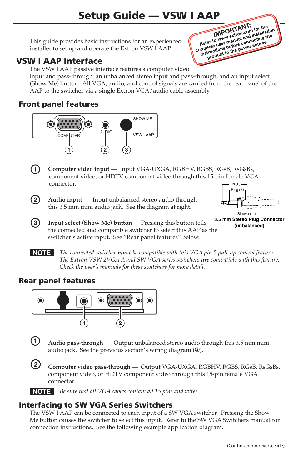 hight resolution of extron electronics vsw i aap setup guide user manual 2 pages