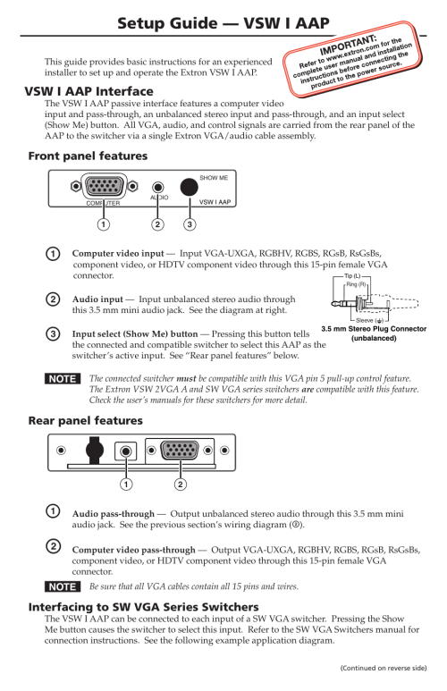 small resolution of extron electronics vsw i aap setup guide user manual 2 pages