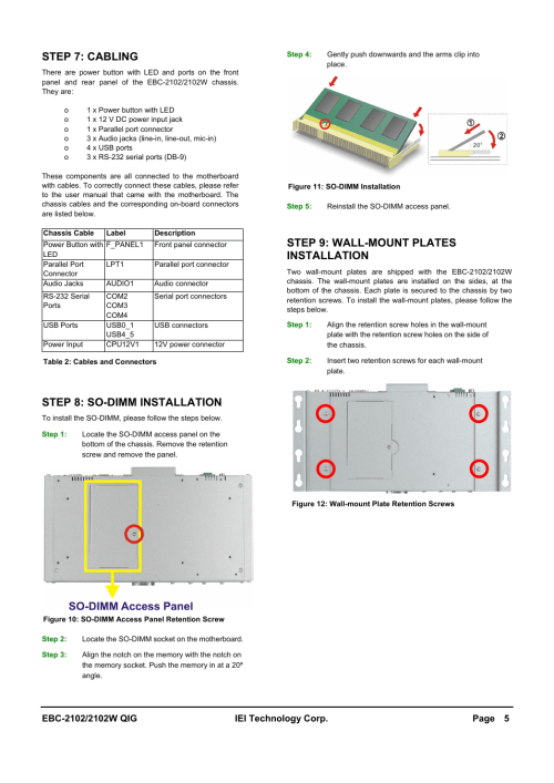 small resolution of step 7 cabling step 8 so dimm installation step 9 wall mount plates installation iei integration ebc 2102 user manual page 5 5