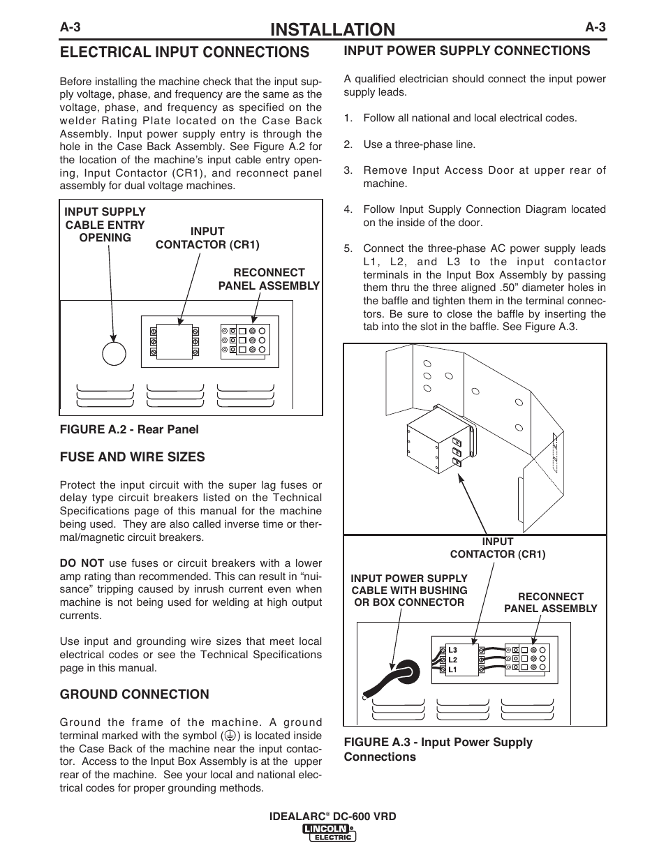 idealarc welder diagram koala food web installation electrical input connections lincoln electric im10018 dc 600 vrd user manual page 11 55