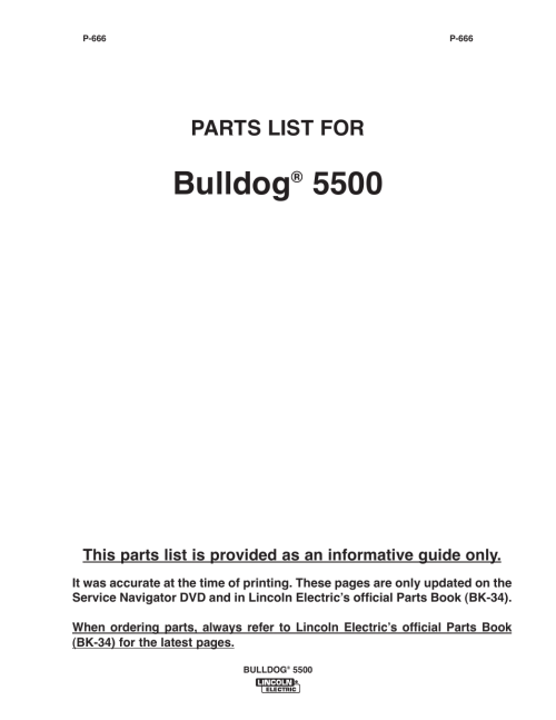 small resolution of bulldog parts list for lincoln electric im10074 bulldog 5500 user manual page 43 56