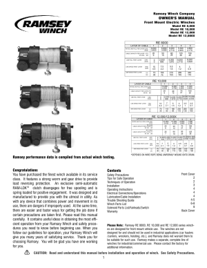 Ramsey Winch RE8000100001200012000X User Manual | 12 pages