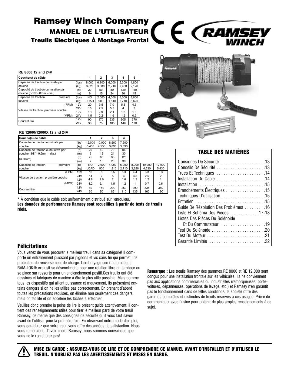 Ramsey winch company, Manuel de l'utilisateur