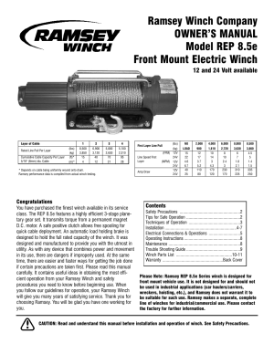 Ramsey Winch REP85e User Manual | 12 pages