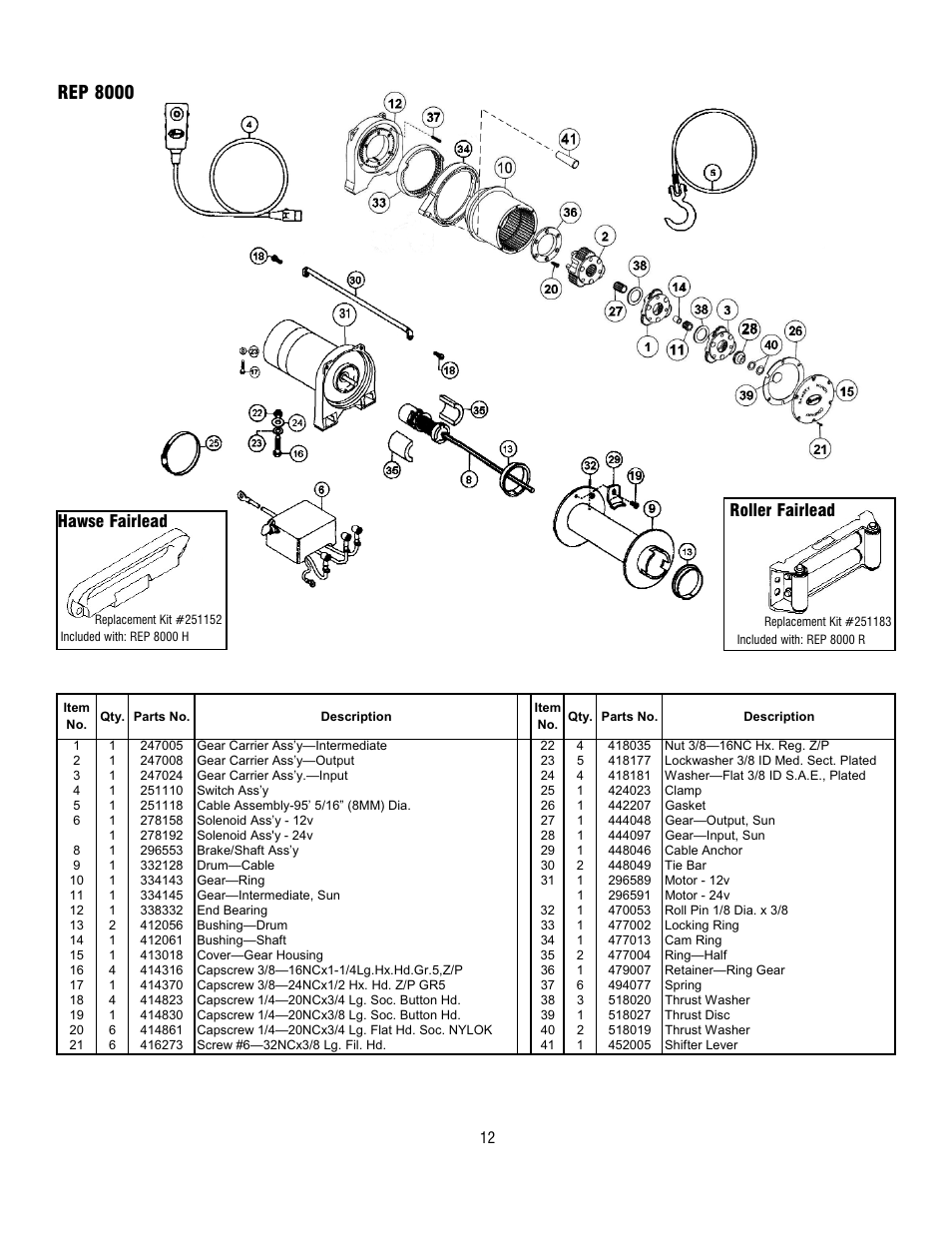 hight resolution of rep 8000 hawse fairlead roller fairlead ramsey winch rep 6000 8000 9000 current user manual page 12 16