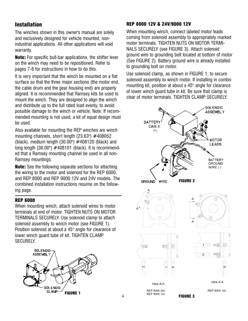 small resolution of installation ramsey winch rep 6000 8000 9000 current user manual page 4 16