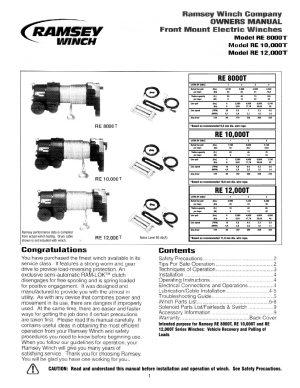 Ramsey Winch RE 80001000012000T User Manual | 12 pages