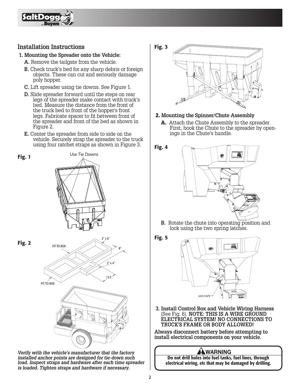 medium resolution of installation instructions saltdogg shpe1500 series electric drive poly hopper spreader v 2 user manual page 2 8