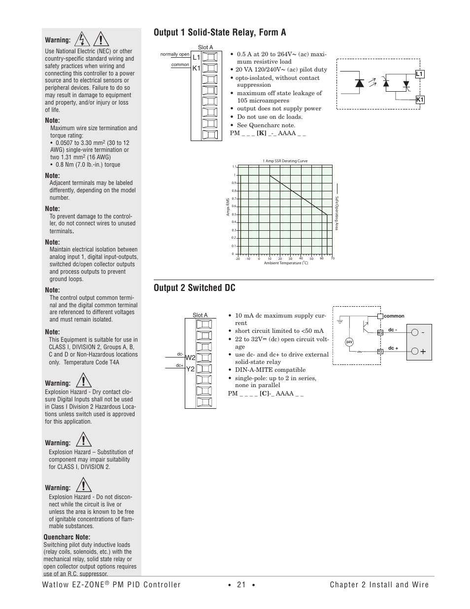 Output 1 solid-state relay, form a, Output 2 switched dc