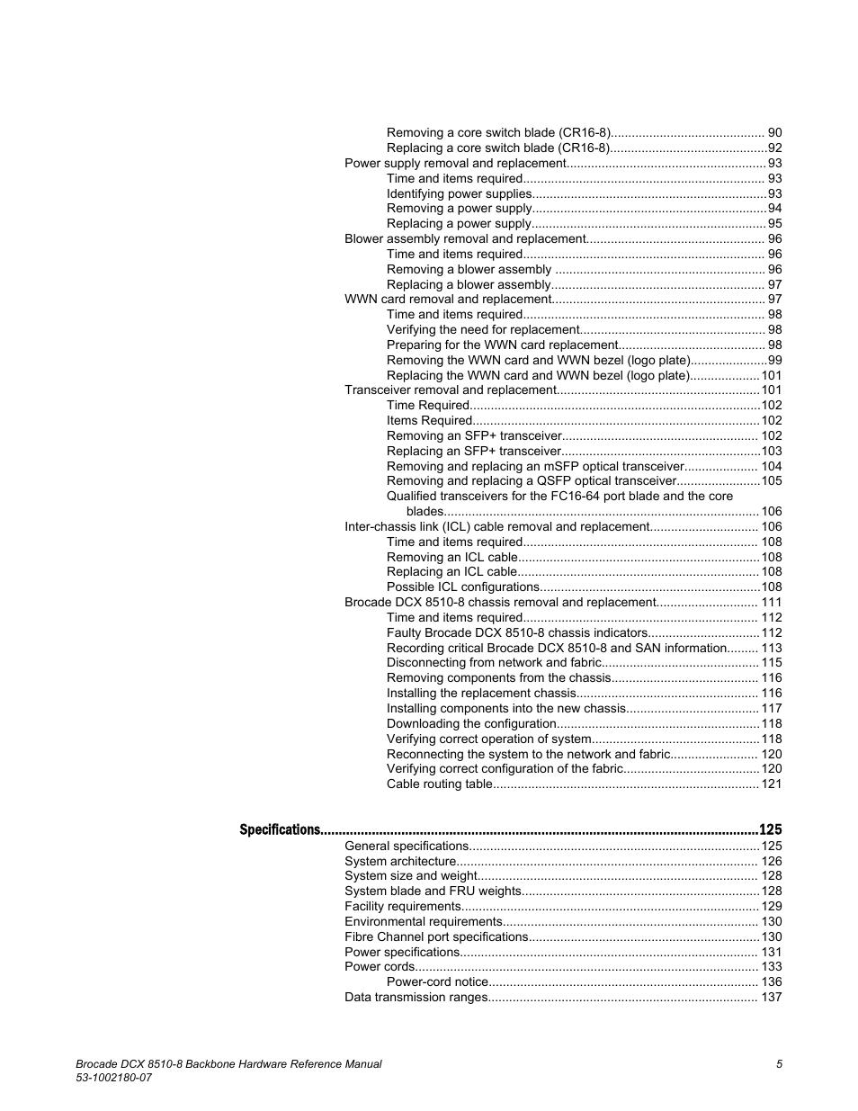 Brocade DCX 8510-8 Backbone Hardware Reference Manual User