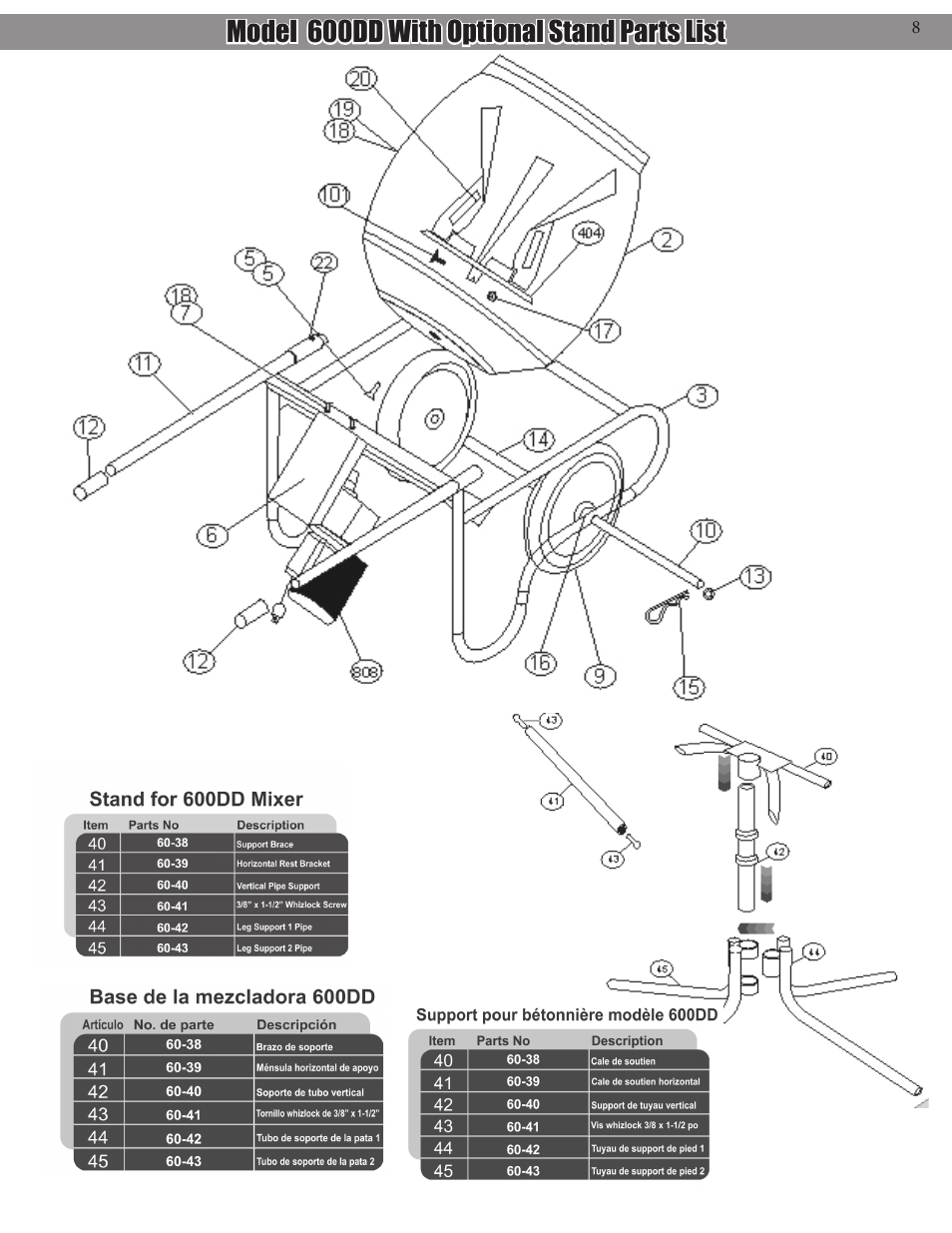 hight resolution of model 600dd with optional stand parts list kushlan products 600dd user manual page 8 14