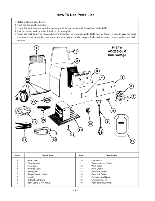 small resolution of how to use parts list lincoln electric im348 ac 225 glm user manual page 8 28