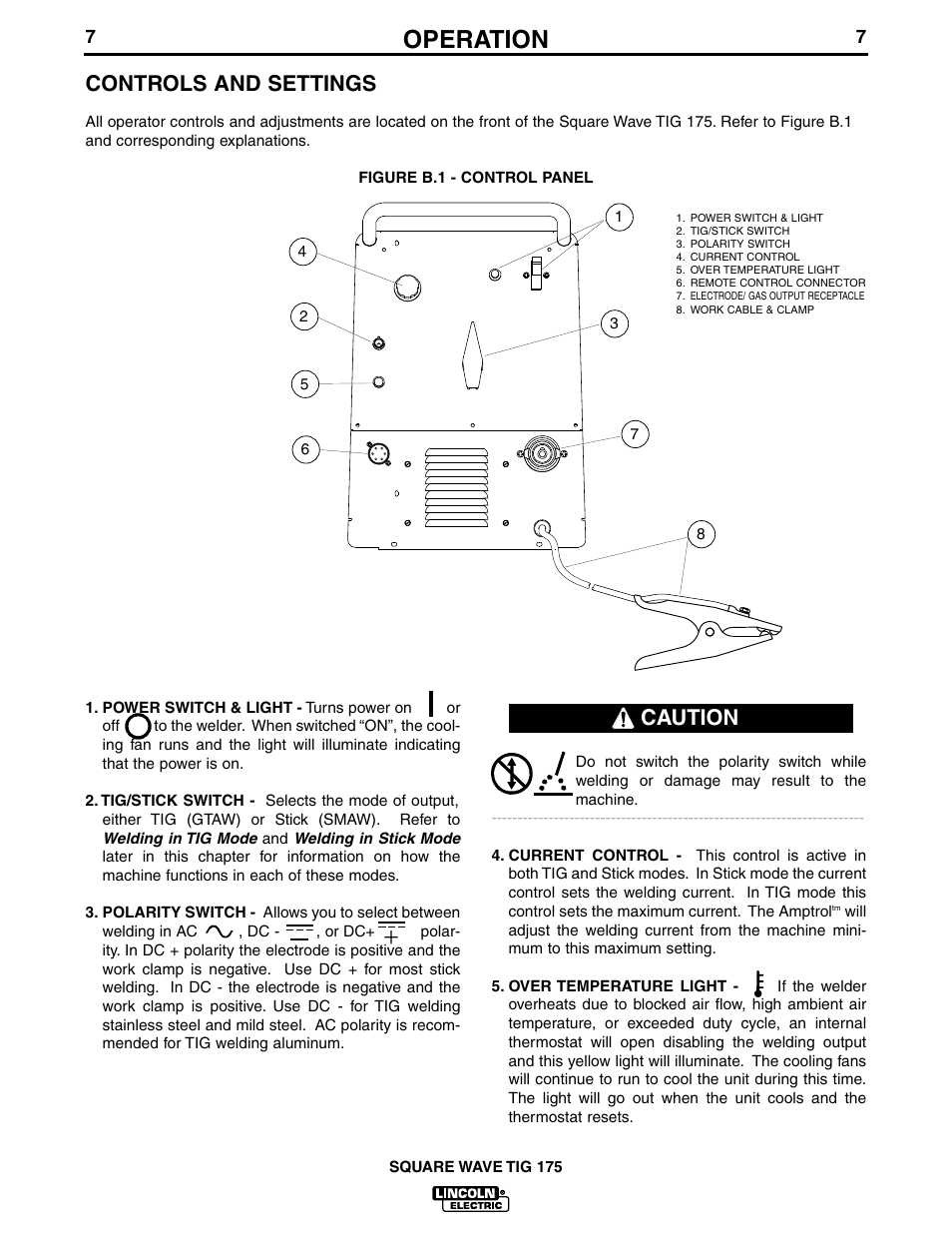 hight resolution of operation controls and settings caution lincoln electric im565 square wave tig 175 user manual page 14 32